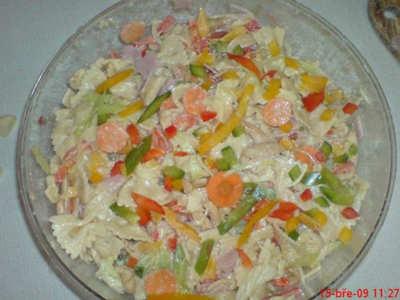 Těstovinový salát s kuřetem,šunkou a sýrem
